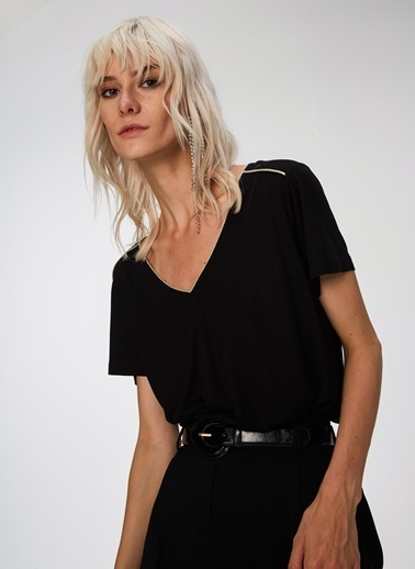 People By Fabrika Simli Biyeli Tişört Siyah